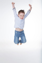 male kid showing his happiness