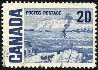 """stamp shows """"Quebec Ferry"""" painting by James Wilson Morrice"""