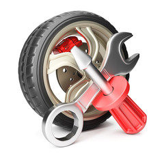 Car wheel with screwdriver and wrench