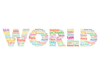 World travel concept made with words cities names, vector collaj