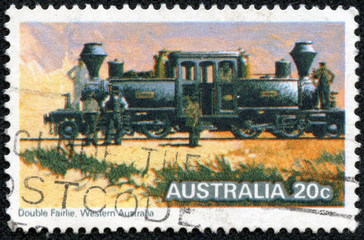 "Stamp printed in Australia shows the ""Double Fairlie"" Locomotive"