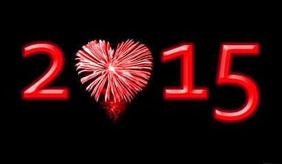 2015, red fireworks in the shape of a heart