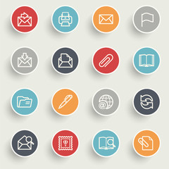 Email icons with color buttons on gray background.
