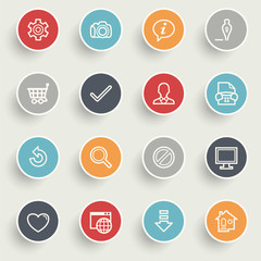 Basic icons with color buttons on gray background.