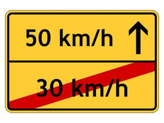 Schild: 50 km/h anstatt 30 km/h
