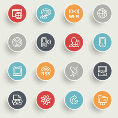 Communication icons with color buttons on gray background.