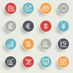 Finance icons with color buttons on gray background.