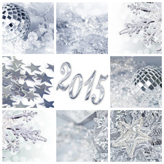 2015, silver christmas ornaments and decorations collage