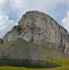 Lake and peak Casterau in Bearn Atlantic Pyrenees
