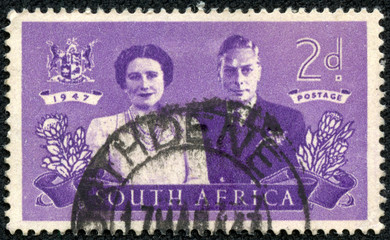 stamp Printed in South Africa shows King George VI and wife