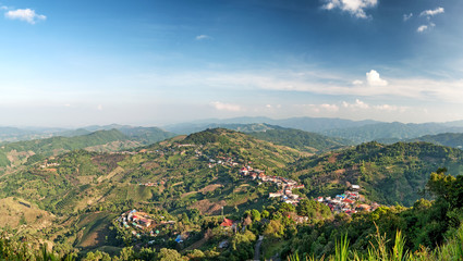 Chiang Rai hills village landscape panorama. Northern Thailand