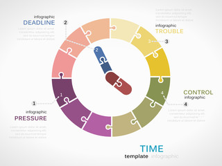 Time infographic template with colorful analogue clock