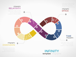 Infinity infographic template with colorful time symbol