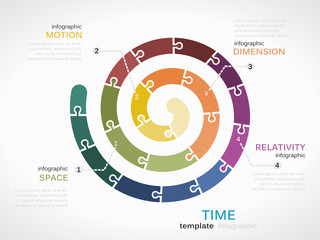 Time dimension infographic template with colorful spiral