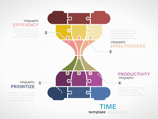 Time passing infographic template with colorful hourglass