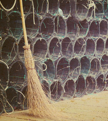 broom and fishnets in vintage tone