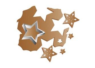 Sterne ausstechen aus Teig