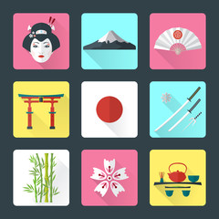 vector color flat japanese national icons shadow set