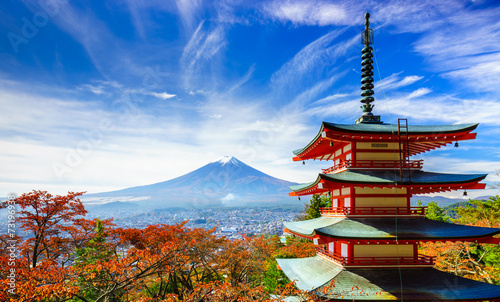 Foto Spatwand Japan Mt. Fuji with Chureito Pagoda, Fujiyoshida, Japan
