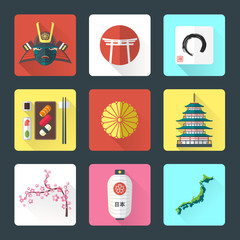 vector color flatjapan national icons shadow set