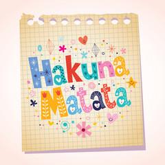 Hakuna Matata phrase notepad paper cartoon illustration