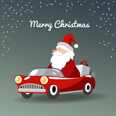 Christmas greeting card with Santa Claus, retro sports car