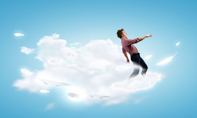 Man on cloud