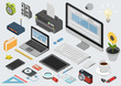 Flat 3d isometric technology workspace infographic icon set - 73198952