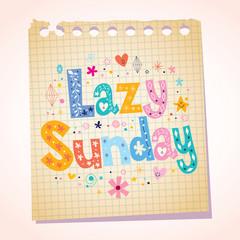 Lazy Sunday notepad paper cartoon illustration