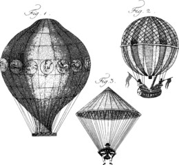 Vintage Illustration aerostat balloon