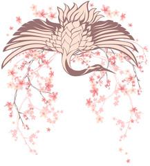 crane bird with sakura branches