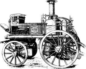 Vintage graphic steam fire engine