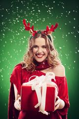 Woman in reindeer costume