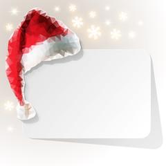 Polygon Weihnachtsmütze mit Gutschen und Schneeflocken