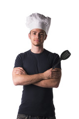 Young Male Chef in Black Shirt and White Hat