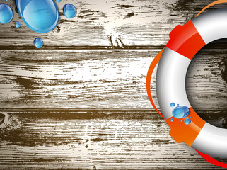 Life Buoy at Wooden Background