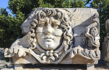 Medusa Head bust in Didim, Turkey