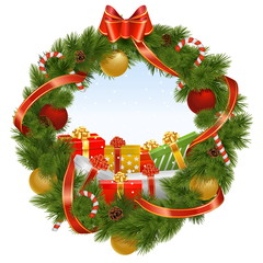 Vector Christmas Wreath with Background