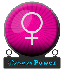 Women Power Pink Burst Circle