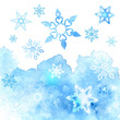 Watercolor abstract background with snowflakes. Vector illustrat