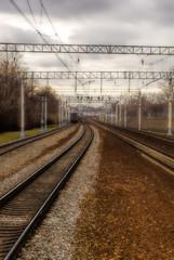 railway tracks go to fog