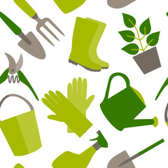 Seamless pattern of gardening tools