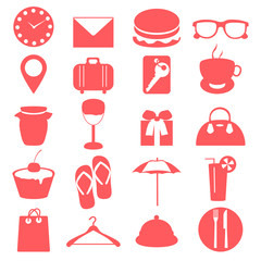 Silhouette elements of travel and trip icons