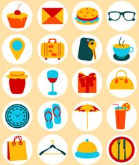 Flat design elements of travel and trip icons