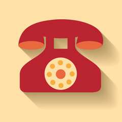 Flat design of vector old phone icon