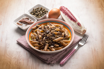 macaroni with red chicory anchovy and capers