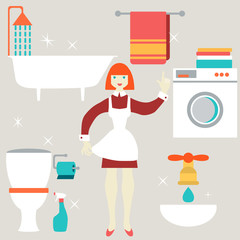 House work concept. Vector illustration.  Flat design.