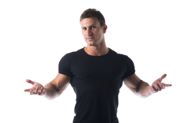 Athletic Man in Black Shirt with Open Arms