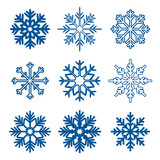 Fototapety Set of blue snowflakes