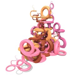 3d abstract curved shapes